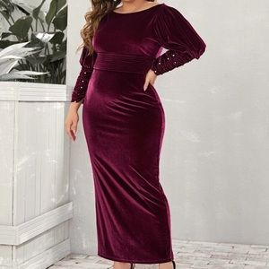 NEW😍 STUNNING VELVET DRESS WITH PEARLS🎉OFFERS💯